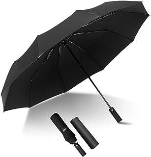 Kono Travel Automatic Umbrella 10 Ribs Reinforced Windproof Rain Umbrellas Folding Golf Umbrella Black
