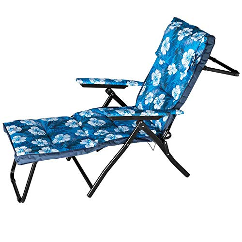 Bakaji - Tumbona de jardín plegable, ahorra espacio, con estructura de metal, respaldo reclinable, reposapiés y asiento de tela acolchada, color azul con flores
