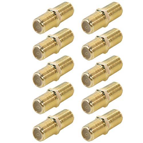 10x SAT F-Verbinder | Kabel Verlängerung | F-Buchse > F-Buchse | TV Adapter Koax Verbinder Kupplung 2X F-Buchse | F-Adapter für Antennenkabel Satellitenkabel Koaxialkabel | Vergoldet | 10 Stück