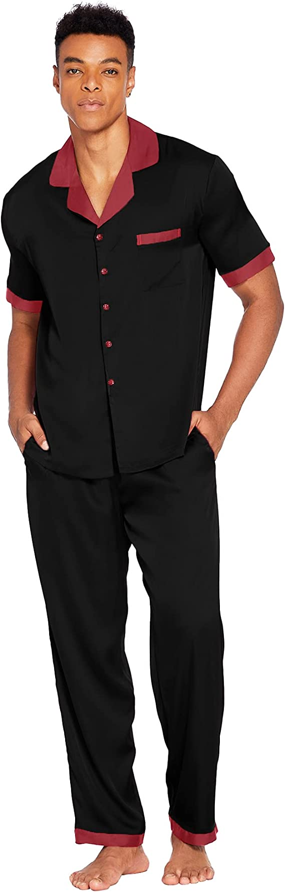 Ekouaer Men Silk Satin Pajamas Set Short Sleeve Button Down Sleepwear with Long Pants Silky Pjs Notch Collar Loungewear S-XXL