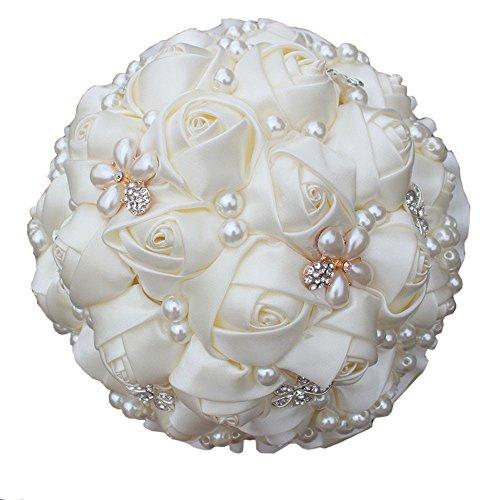 Quibine Bouquet Fleur Rose Satin Cristal Strass Perle Mariage Accessoire Mariée Demoiselle d'honneur, Dia: 21cm, Crème