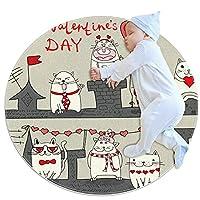 ソフトラウンドエリアラグ 100x100cm/39.4x39.4IN 滑り止めフロアサークルマット吸収性メモリースポンジスタンディングマット,バレンタインデーの猫とクマ