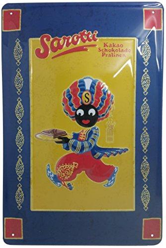 Sarotti cakao chocolade praline metalen bord, origineel Sarotti nostalgic retro metalen plate, 20 x 30 cm
