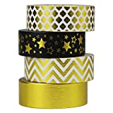 UOOOM 4 pcs Oro Washi Tapes Set Cinta adhesiva Cintas de papel adhesivo adhesivo para Decoración...