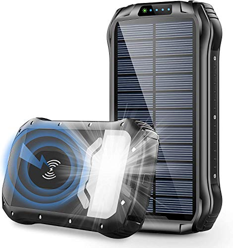 Solar Charger, 26800mAh Portable Power Bank Qi Wireless Battery Panel Charger with 4 Outputs & Dual Inputs Type-C, Waterproof External Backup Battery Pack with 18 LEDs Flashlight for Phones