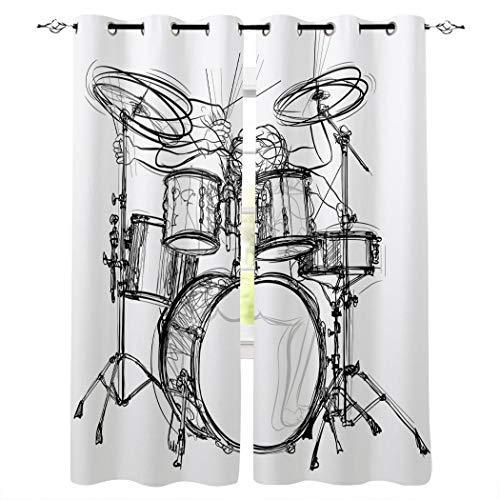 Cortinas opacas con ojales plateados, con aislamiento térmico de música de rock para oscurecer la ventana para dormitorio/puerta de cristal corrediza negro tambor Talla:52x84inx2