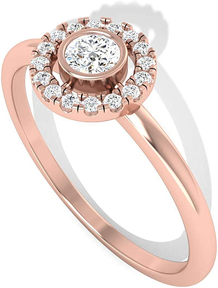 IGI Certified Round Diamond Halo Engagement Ring, IJ-SI Solitaire Diamond Unique Ring, Wedding Bridal Promise Rings, Anniversary Matching Ring for Her, 14K Rose Gold, Size:US 8.5