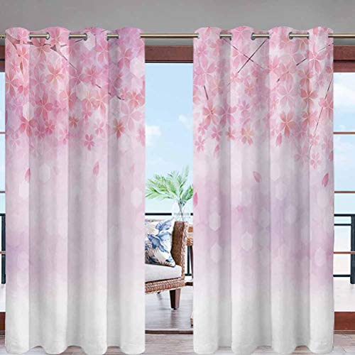 Dasnh Outdoor Waterproof Curtains with Grommet Top Sakura Branches with Blooming Florets W96 x L108 Public Divider for Pergola Patio Balcony