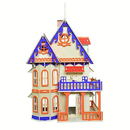 QHWJ Kinder Spielzeug Puzzle, Laserschneiden Holz 3D Gotik Architektur Dreidimensionale Puzzle Holz...
