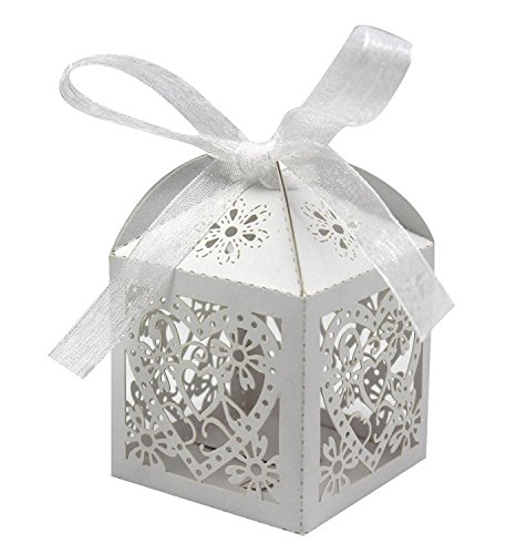 KPOSIYA 100 Pack Love Heart Laser Cut Wedding Party Favor Box Candy Bag Chocolate Gift Boxes Bridal Birthday Shower Bomboniere with Ribbons (White, 100)