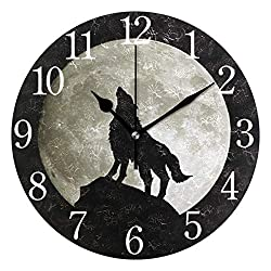 senya Wall Clock Moon Light Wolf Silent Non Ticking Operated Round Easy to Read Home Office School Clock