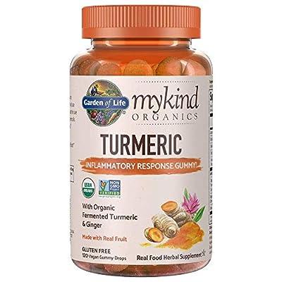 Garden of Life Mykind Organics Turmeric Inflammatory Response Gummy - 120 Real Fruit Gummies For Kids & Adults, 50Mg Curcumin (95% Curcuminoids), No Added Sugar, Organic, Non-GMO, Vegan & Gluten Free