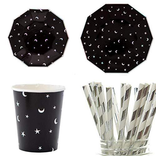 Polka Dot Sky Plata y Negro Aluminio Luna Y Stars Fiesta Cumpleaños Pack Vajilla Papel Platos Vasos Servilletas Colores Vibrantes 8 Paquete (32pcs)