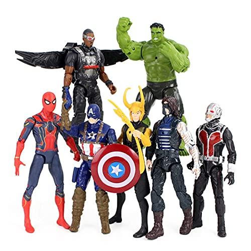 LIANGLMY Figur 7pcs / Lot Action-Figuren LED-Licht Hulk Eisen Spinne Mann Ant Man Falcon Loki Captain Modell Spielzeug