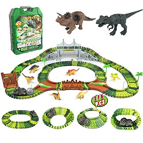 Dinosaurier Spielzeug Rennbahn 216 Stück Tracks Cars Spielzeug mit 1 Dinosaurierauto & 8 Dinosaurier Figuren Autorennbahn Geschenk für Kinder Mädchen Junge Ab 3 4 5 6 7 Jahre