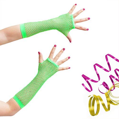 Oblique-Uniuqe® Netzhandschuhe lang in Neon Grün - Einheitsgröße