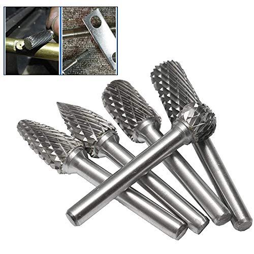 5 Pezzi Di Frese In Acciaio Al Tungsteno In Metallo Duro Set Di Frese Rotative Testa Per Rettifica Di File Per La Lavorazione Del Legno Perforazione Intaglio Del Metallo Lucidatura