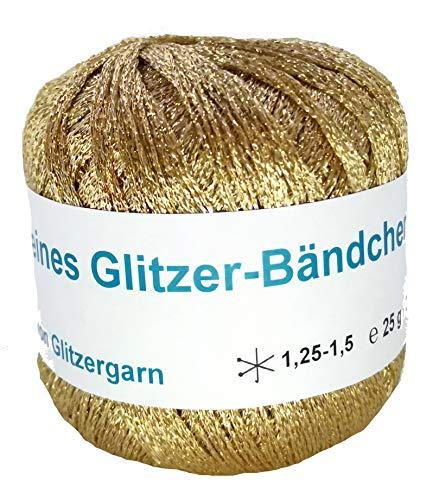 feines Glitzer-Bändchengarn in der Farbe Gold - 25 Gramm Knäuel
