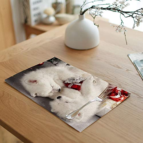 Daesar Dinning Table Mats 2 PCS, Placemats Heat Resistant Linen 2 Dogs with Gift White Red Place Mats Indoor 18x12 Inch