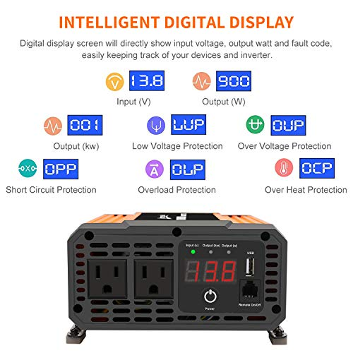 Ampeak 1000W Power Inverter 12V DC to 110V AC with 2 AC Outlets and USB Port Remote Control Car Converter