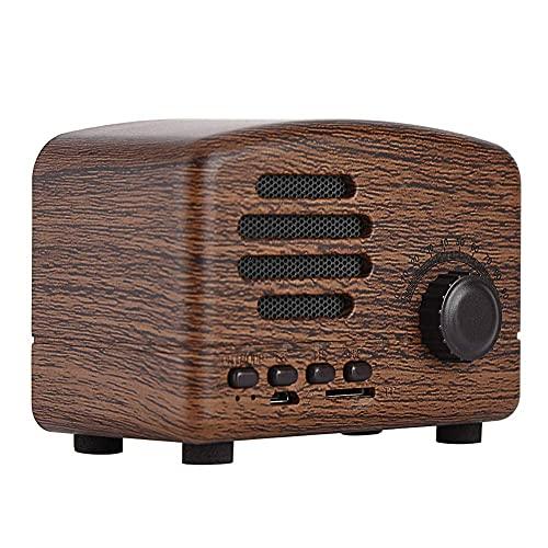 Vbestlife Portátil Radio Estéreo Retro Wireless Bluetooth Altavoz de Escritorio de Madera FM Radio Bass Stereo Soporte Tarjeta Micro SD/TF y Entradas USB(Grano de Madera)