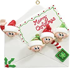 Personalized Christmas Letter Family of 3 Tree Ornament 2019 - Cute Child Friend Elf Envelope Merry Note Gift Kid Tradition Gift Year Elves Present Sibling Stamp - Free Customization (Four)