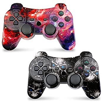 CHENGDAO Wireless Controller 2 Pack Compatible with Playstation 3 with High Performance Double Shock,Motion Control,USB Cable Skull + Galaxy