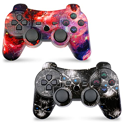 CHENGDAO Wireless Controller 2 Pack Compatible with Playstation 3 with High Performance Double Shock,Motion Control,USB Cable (Skull + Galaxy)