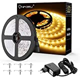 Onforu Kit de 5M Ruban LED Blanc Chaud, Bande LED 12V 300LED 3000K Lumière Bande LED...