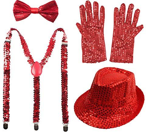 Juego 4 de Tirantes Elsticos Pajaritas Ajustables Guantes y Sombrero de Copa de Lentejuelas Brillantes para Nios Disfraz de Fiesta Carnaval Halloween Navidad (Rojo, Pack con sombrero/52cm)