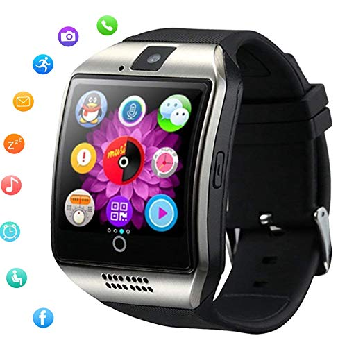 Smart Watch Bluetooth All in 1 Wristwatch Touch Screen Smart Watches Unlocked Watch Receive Call Compatible with Android Phones Samsung S10 S9 S8 Plus Note 8 9 10 Pro LG Motorola Man Woman Boys Silver