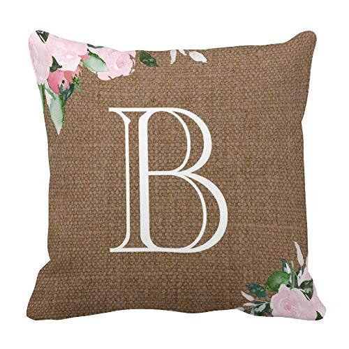perfecone - Funda de almohada de algodón con diseño de flores de arpillera doble monograma para sofá y coche (55 x 55 cm)