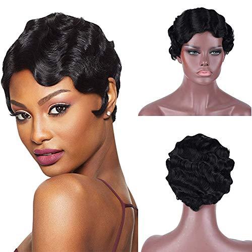 Human Hair 1920 Finger Waves Wigs for Black Women...