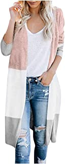 Womens Coats Multicolor Striped Patchwork Long-Sleeve Fashion Chic Cardigan Casual Sweater Regular