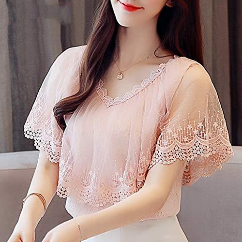 DYXYH Mujeres Tops y Blusas Summer Lace Blusa Camisa Moda Mujer Blusas de Manga Corta Top de Encaje Femenino (Size : XXL Code)