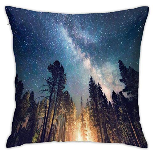 lucies Forest Starry Night Throw Pillow Case Soft Cushion Cover 18 X 18 Inch Decorative Pillowcases Modern Square Pillow Case Home Car Decoration