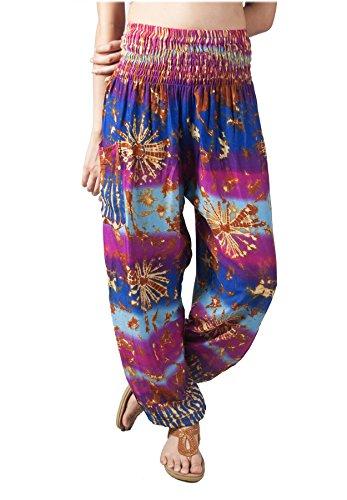 LOFBAZ Harem Pants for Women Yoga Boho Hippie Clothing Palazzo Bohemian Beach Maternity Pajama Indian Gypsy Travel Clothes Tie Dye Blue & Purple XL