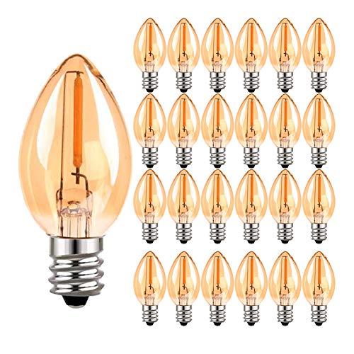 Bombilla de candelabro de filamento LED C7, vela Edison Vintage E14 (vidrio ámbar) Bombillas de luz LED, equivalente a 5W Bombillas 2200K blancas ultra cálidas, 50 lúmenes, no regulable, paquete de 25