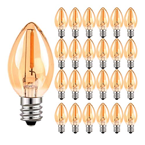 C7 LED Filament Candelabra Glühbirne, Vintage Edison Candel Bulbs E14 (Amber Glass) LED Glühbirnen, 0,5 W (5 W Äquivalent) Ultra Warm White 2200K Glühbirnen, 50 Lumen, nicht dimmbar, 25er Pack