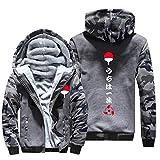 NIEWEI-YI Men's Casual Hooded Sweatshirts,Naruto Chaqueta con Capucha y Cremallera para Hombre, Forro Polar,L