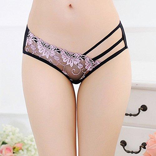 LTHH Spitzen - transparente verführung; Damen sexy höschen Bestickt niedrigen Taille Bikini Bottom,pink