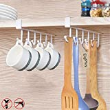 EigPluy 2pcs Mug Hooks Under Shelf Mug Holder Cups Storage Rack Drilling Free Coffee Cups Holder Kitchen Utensil Holder Key Hooks Ties Belts Scarf Hanging Hooks Rack,Fit for The Cabinet 0.8' or Less