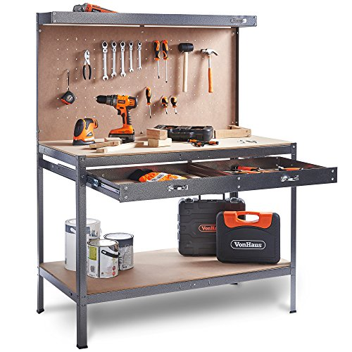 VonHaus Garage Workbench Pegboard Heavy Duty Reinforced Steel with Storage Drawer + Shelf - Grey Hammered Texture Finish - Massive 230kg Capacity - Boltless Worktable + 20 Hooks (L120 x W60 x H155)