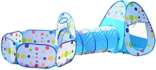 Kids Play Tent Crawl Tunnel and Ball Pit with Basketball Hoop Children Playhouse (Blue)