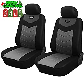 125701 Black - Leather Like 2 Front Car Seat Covers, fits Car, Van, SUV, Compatible to FORD C-MAX EDGE FIESTA (SE) FOCUS (ST) MUSTANG TAURUS ESCAPE FUSION TRANSIT CONNECT 2018 2017 2016-2007