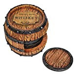 5pc Whiskey Barrel Drink Coasters Unique - Bar Decor and Accessories Beer Coaster - Home Decorations for Dining Room Drink Coasters - Modern House Decor Coaster Set with Holder Kitchen Decor Man Cave