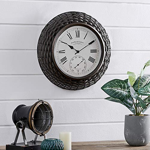 FirsTime & Co. Everly Rattan Outdoor Clock, American Crafted, Dark Brown, 14 x 2.75 x 14 ,