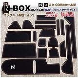 (後期)ホンダ N-BOX&N-BOXカスタム (JF3/JF4) インテリアラバーマット (後期 (2020.12~) ブラウン) くまモンシール付 ドアポケットマット