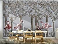 Bosakp 北欧の手描きの森のフラミンゴの羽の壁紙3D壁画の寝室の家の壁の装飾アート壁紙ペーパーロールお問い合わせ 100X50Cm