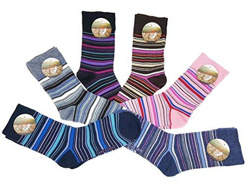 Laake 6 Paar original ALLDAYS! Damen Socken Mädchen Strümpfe 85% Baumwolle ohne Gummi Freizeit Bunt (39-42, 809 Bunte Streifen)
